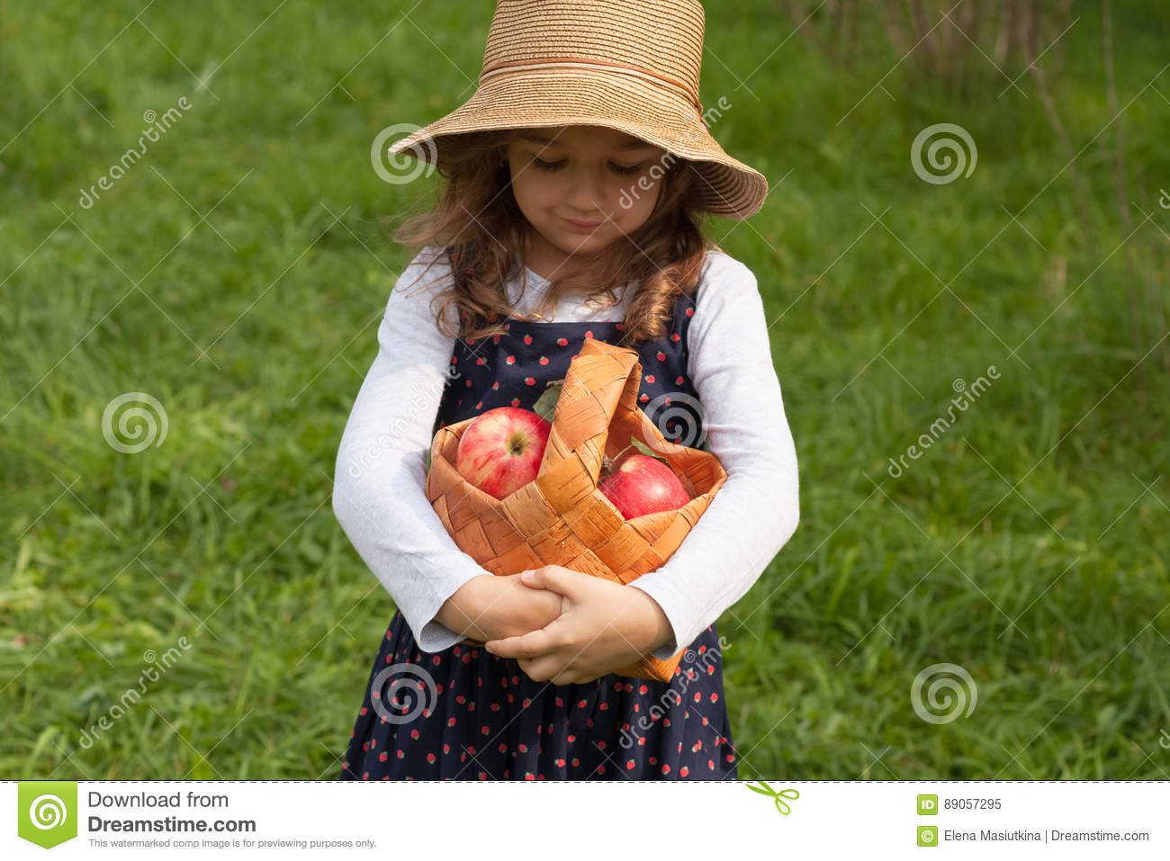 Little girl with basket of apples royalty free stock photo for Gardening tools for 6 year old
