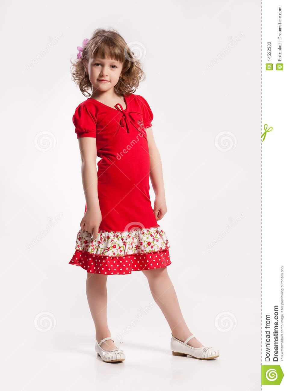 Little Girl In A Red Dress Stock Photography - Image 14522332