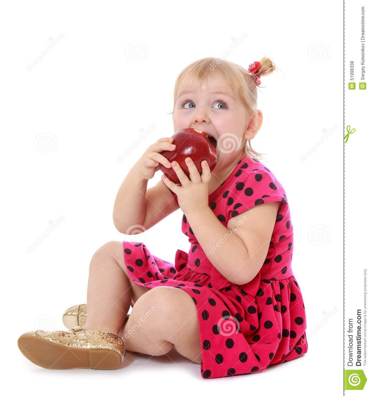 8161c493025 Little Girl In Red Dress Eating An Apple Sitting Stock Photo - Image ...