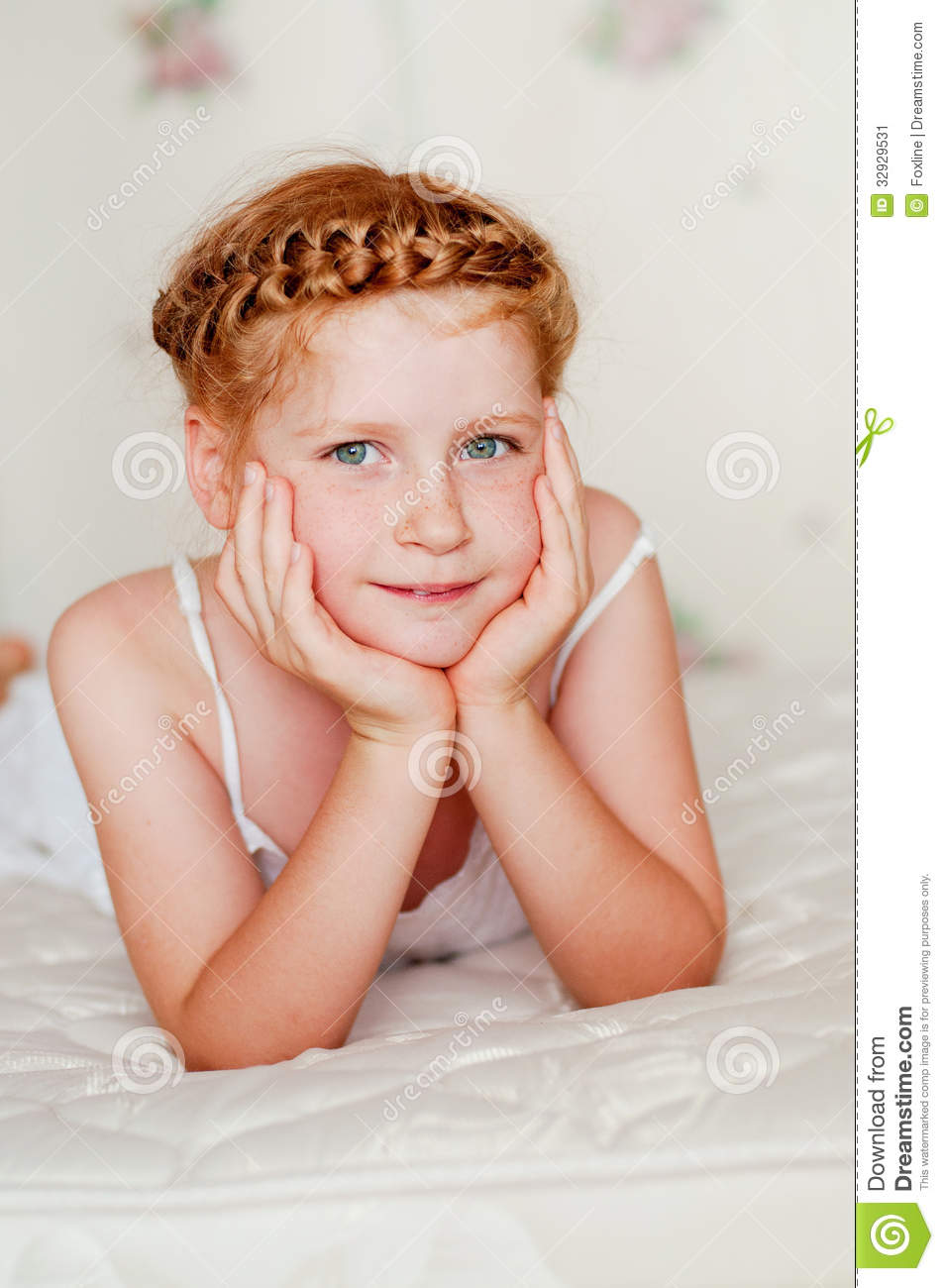 Little girl with red hair in a white dress stock image image 32929531 - Pics of small little girls ...