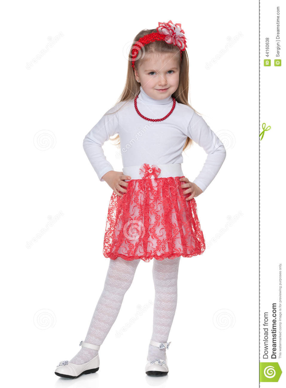 Girl in red skirt