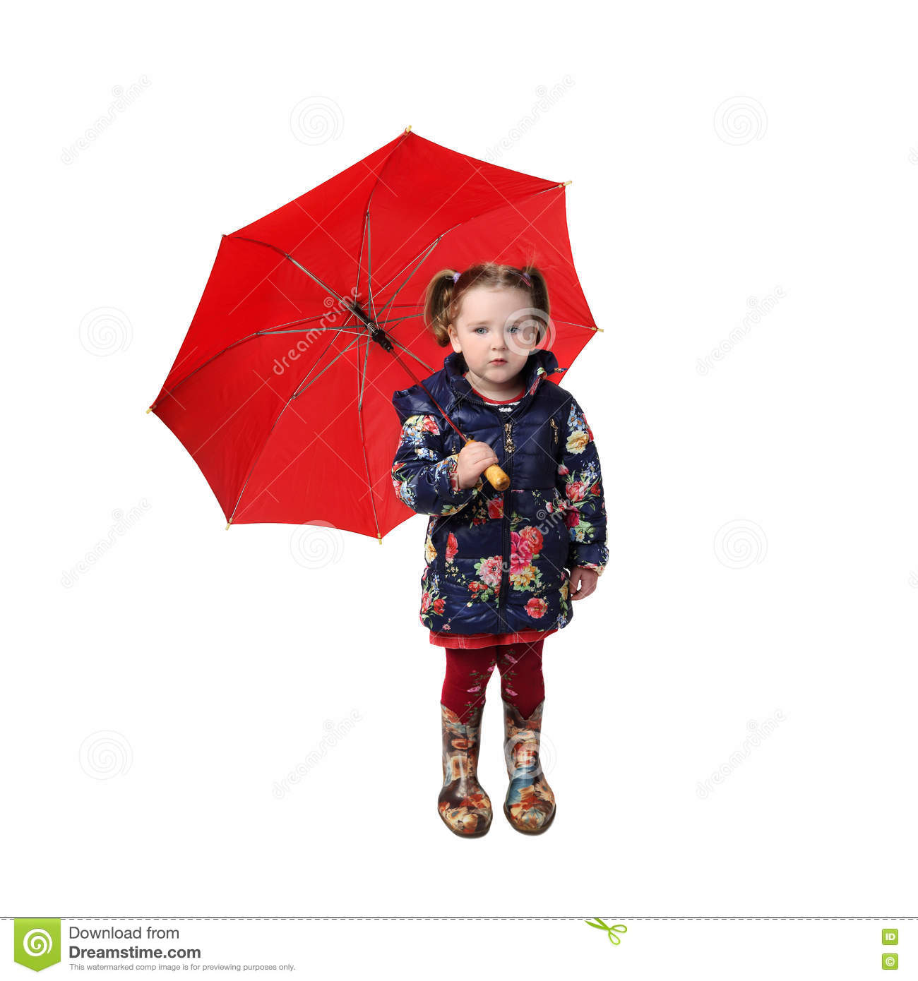 Little Girl With Red Umbrella Stock Photo - Image: 78719286