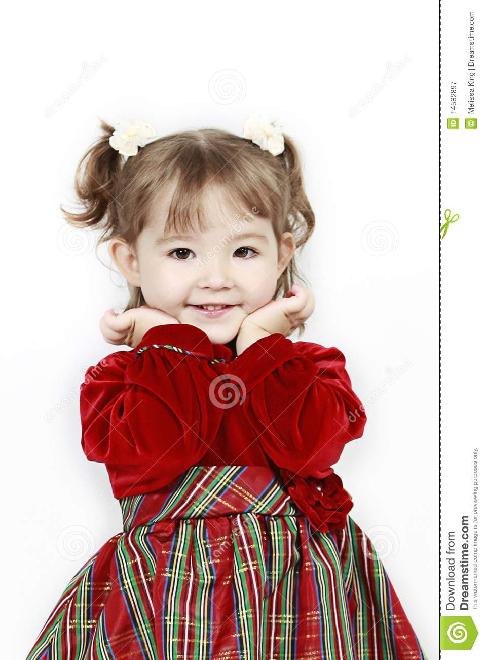 c8edebeff2dde Little Girl In Red Velvet Dress Stock Image - Image of female, looks ...