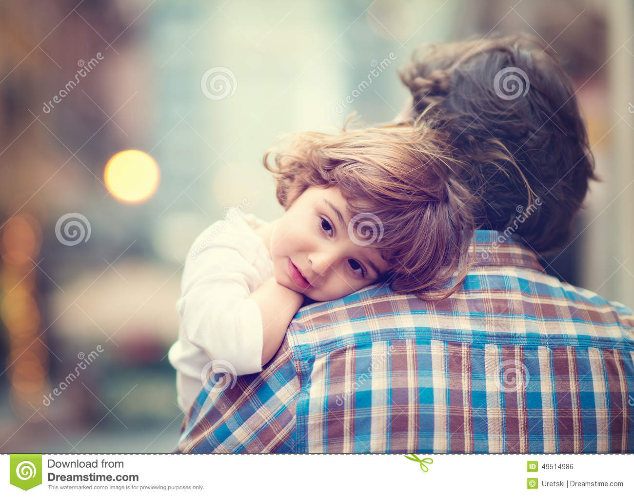 Little Girl Resting On Dads Shoulder Stock Photo Image Of Father