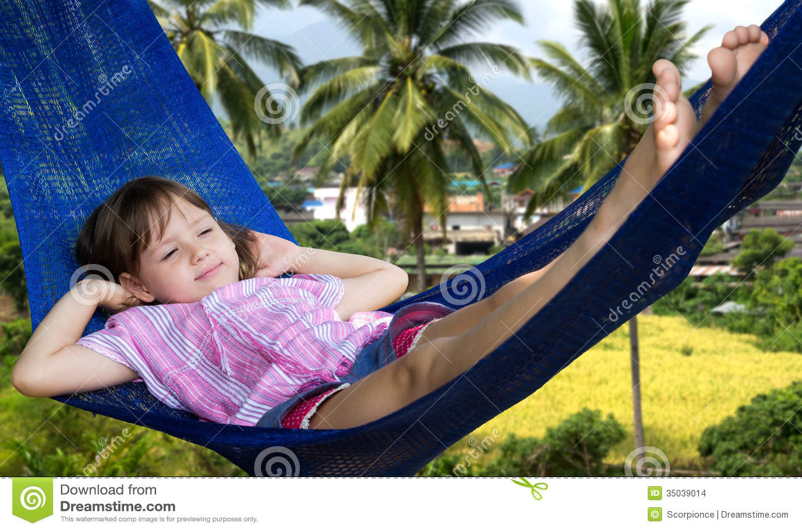 Little Girl Resting In Hammock Stock Photo - Image: 35039014