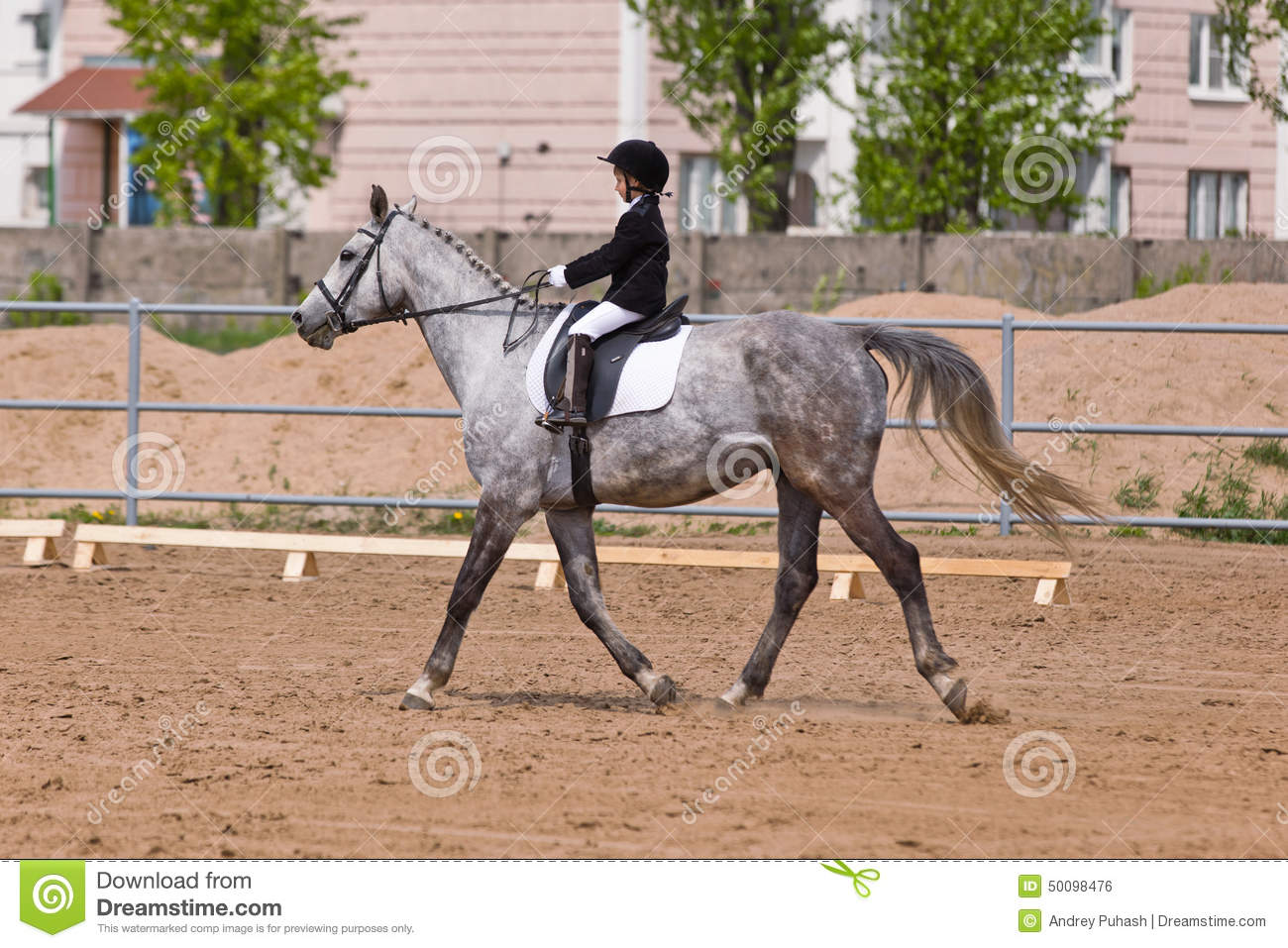 Little girl riding a horse participates in competitions. Summer countryside.