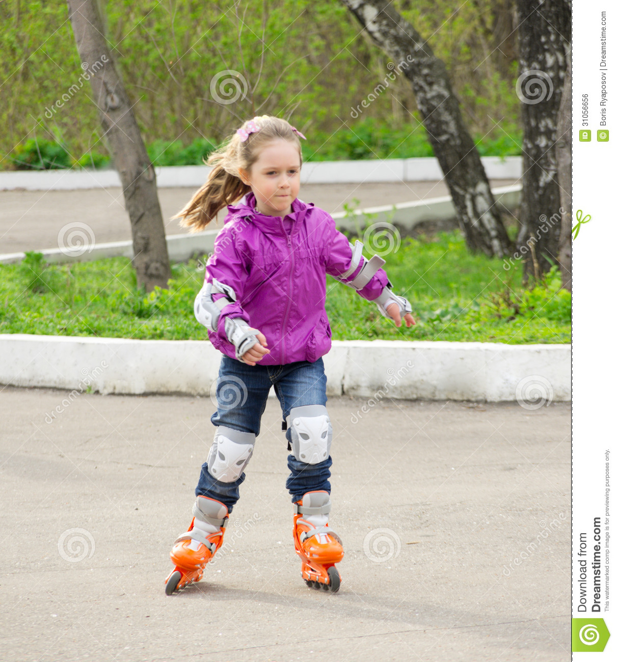 little girl roller skating stock photo image of outdoors