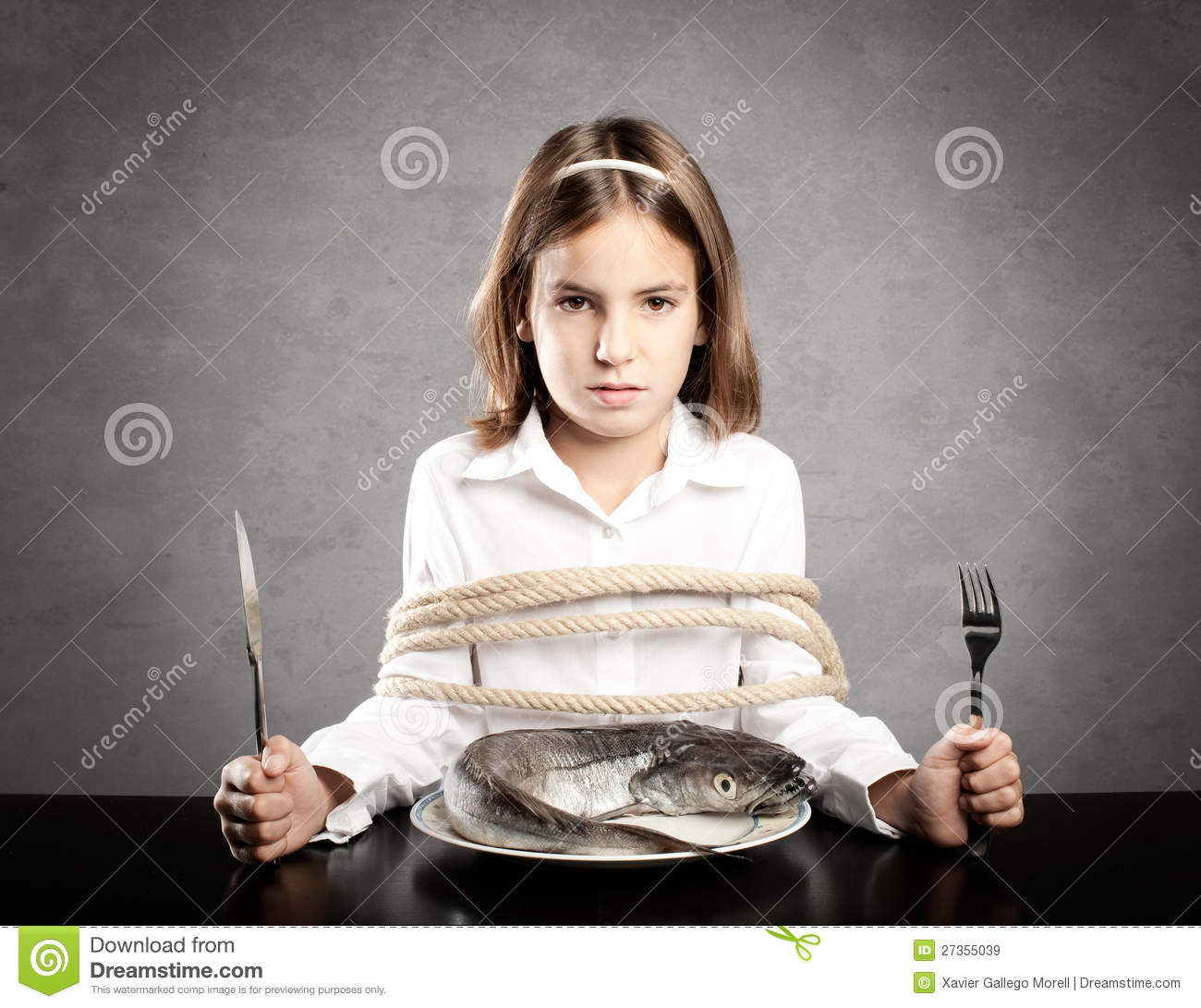 Little Girl Roped Sitting At Table Royalty Free Stock Images - Image ...