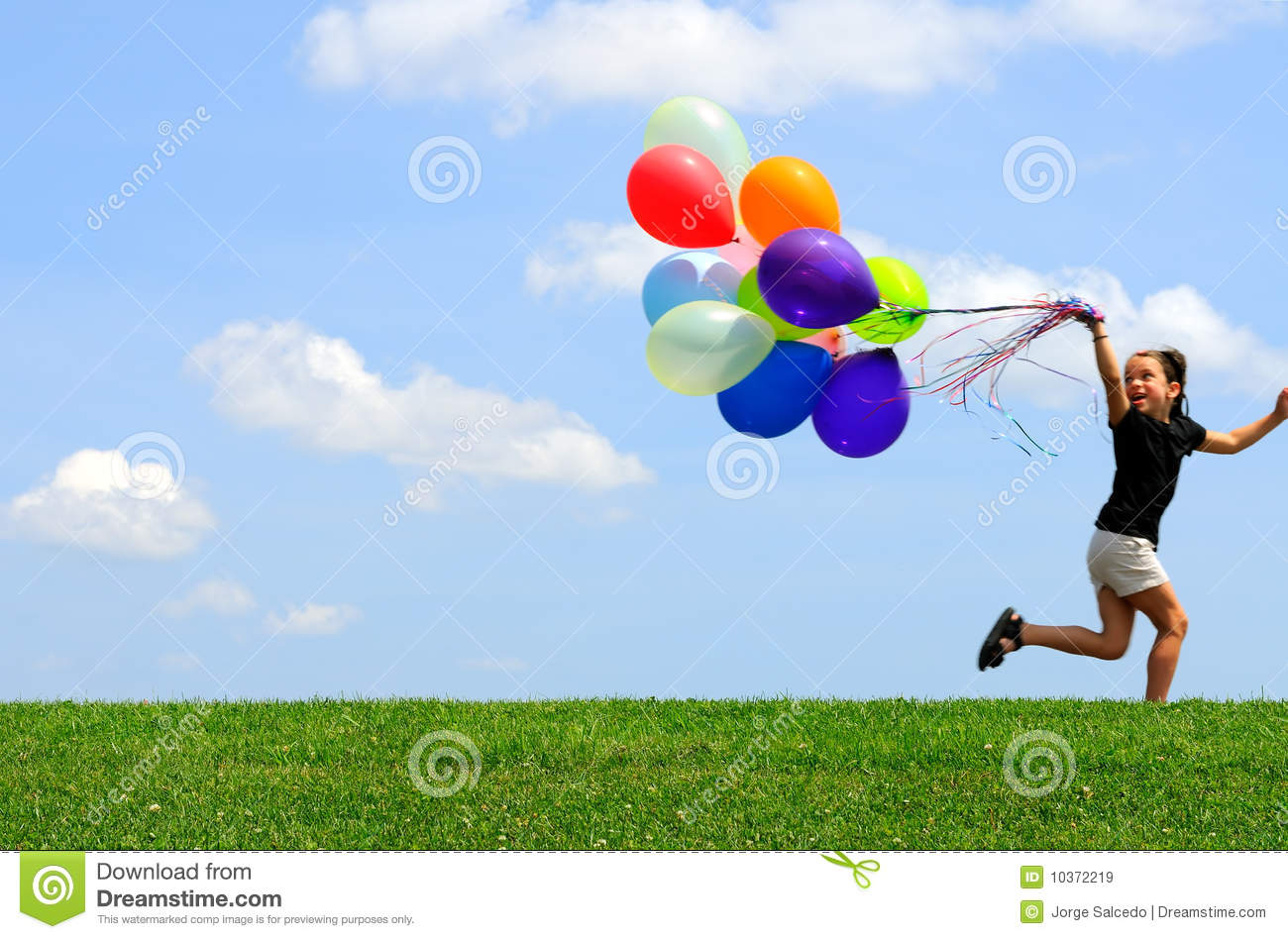 Little girl running with balloons stock image image of for What to do with balloons