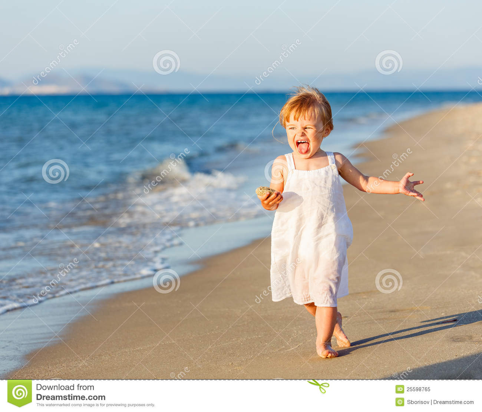 Little Girl Running On The Beach Royalty Free Stock Photo ... Girl Running On Beach