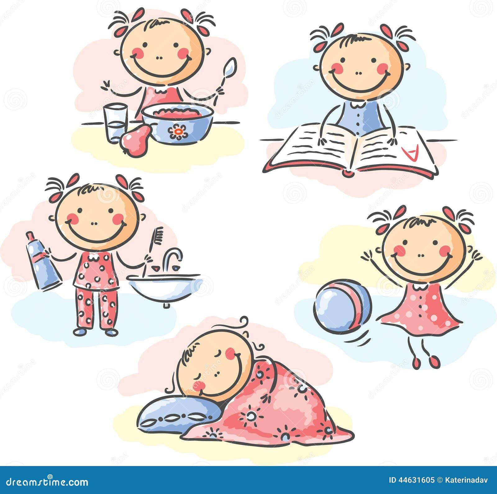 Little Girl's Daily Activities Stock Vector - Image: 44631605 Superhero Flying Vector