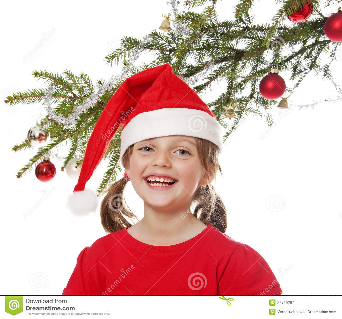 Little Girl Christmas Tree: Little Girl With Santa Cap And Christmas Tree Stock Image