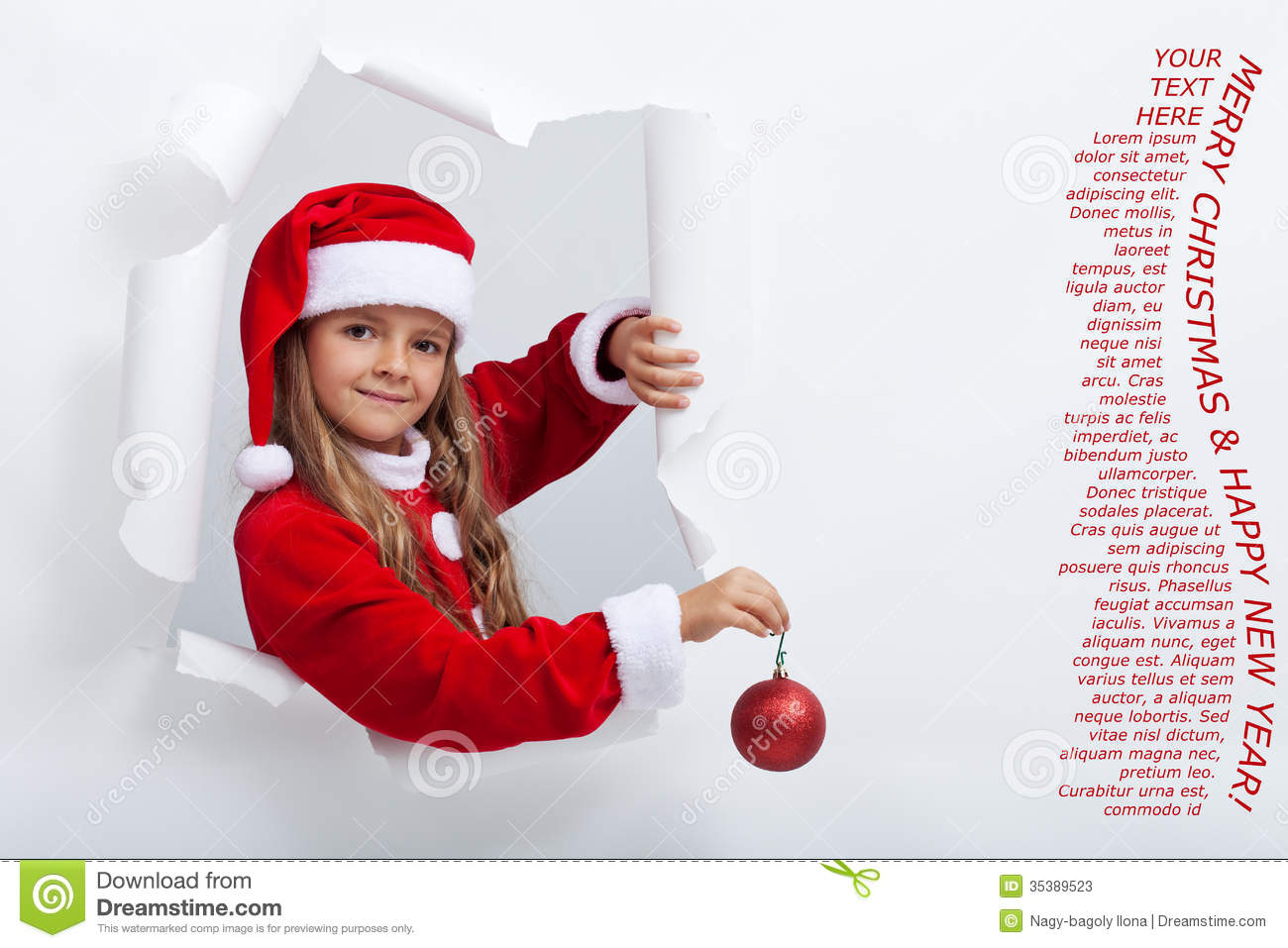 Little Girl In Santa Costume Leaning Out Of Torn Edges Hole
