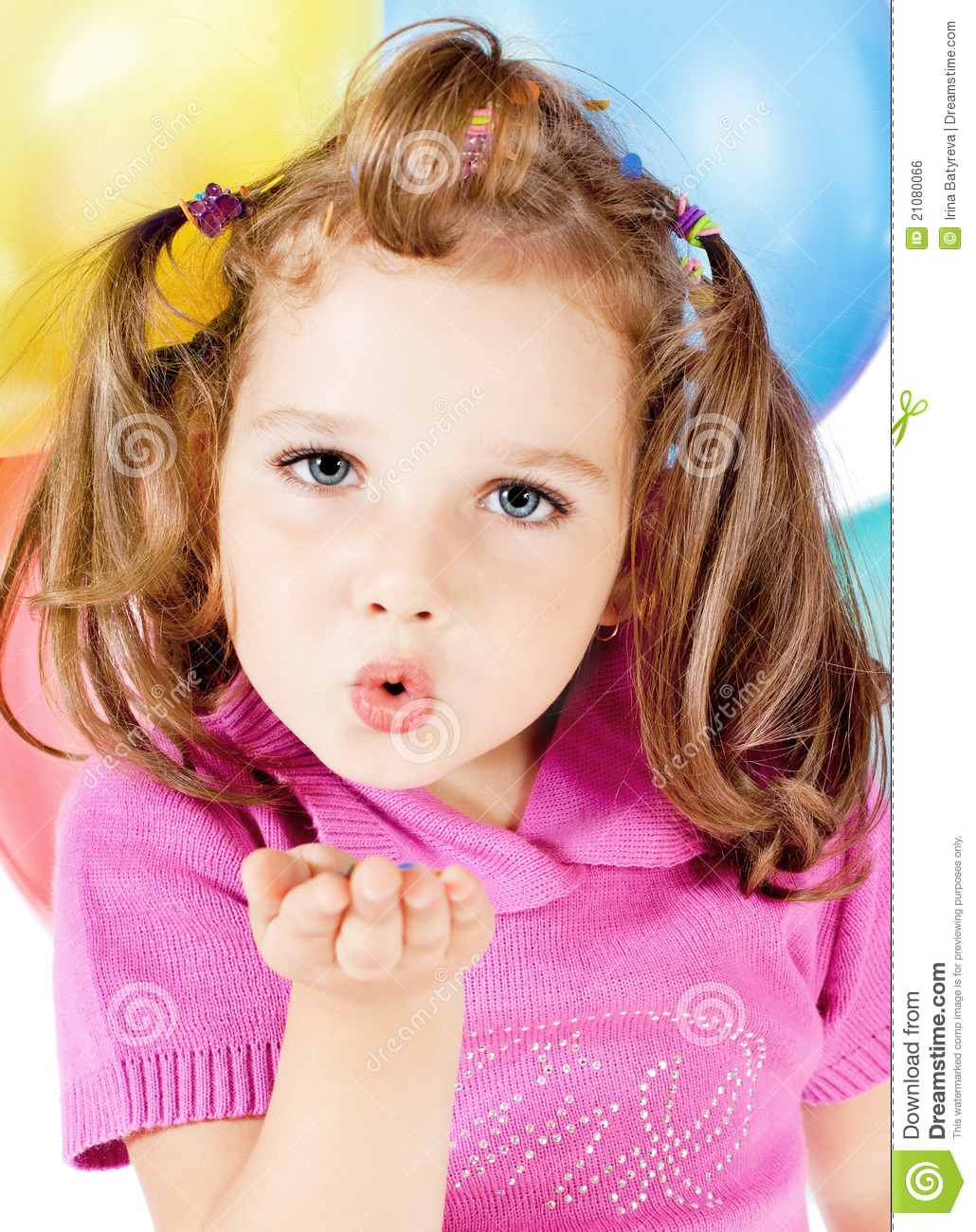 Little Girl Sends Kiss Stock Photo. Image Of Attractive
