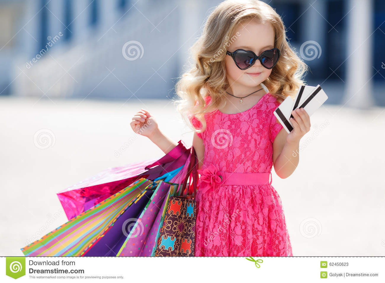 Little girl with shopping bags goes to the store stock image image 62450623 - Pics of small little girls ...