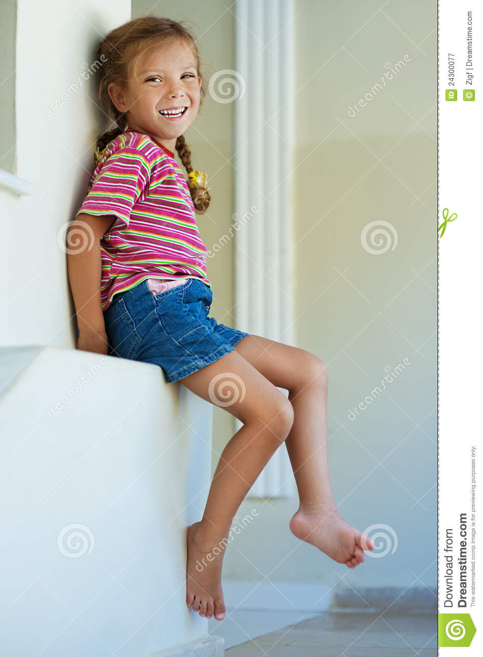 Little Girl In Shorts Sitting Stock Image - Image of head ...