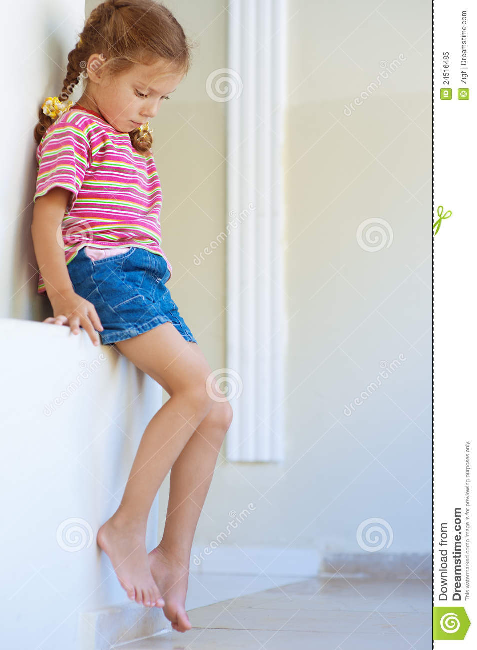 Little Girl In Shorts Sitting Royalty Free Stock Photo ...