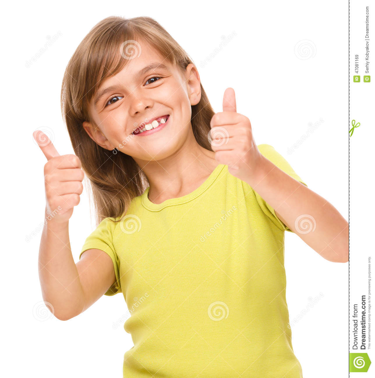 Little girl is showing thumb up sign