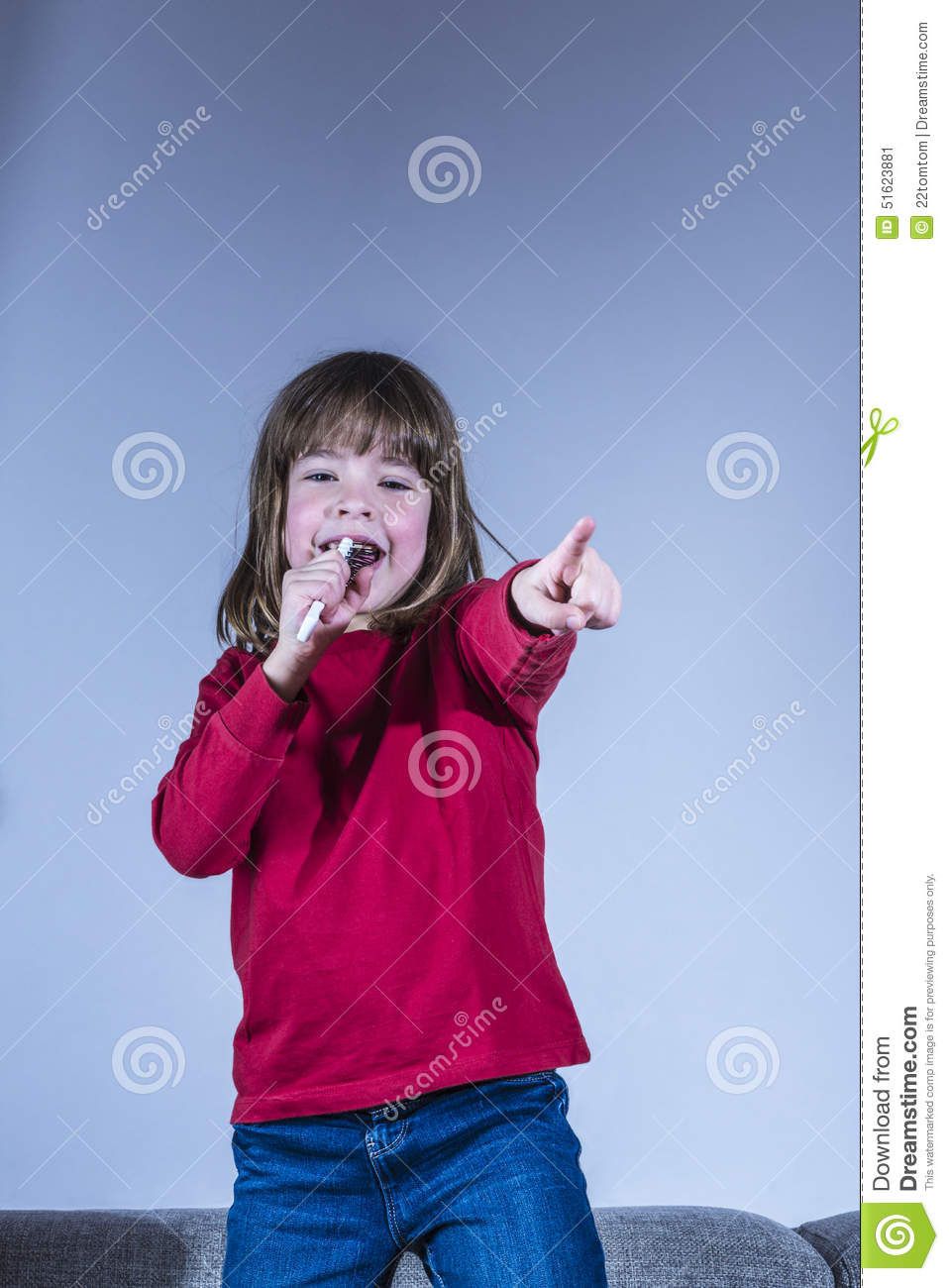 Little Girl Singing Stock Photo - Image: 51623881
