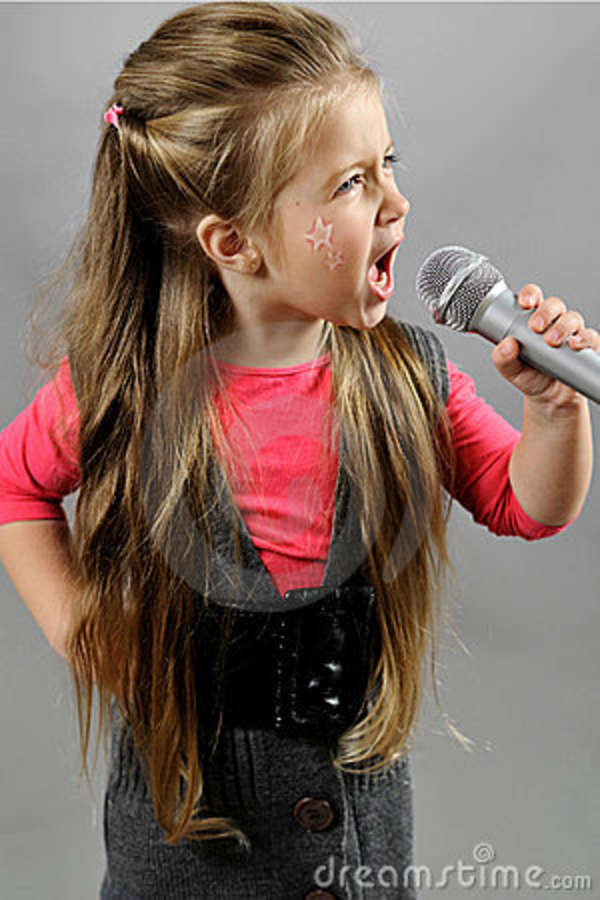 Little Girl Singing Karaoke Royalty Free Stock Photography ...