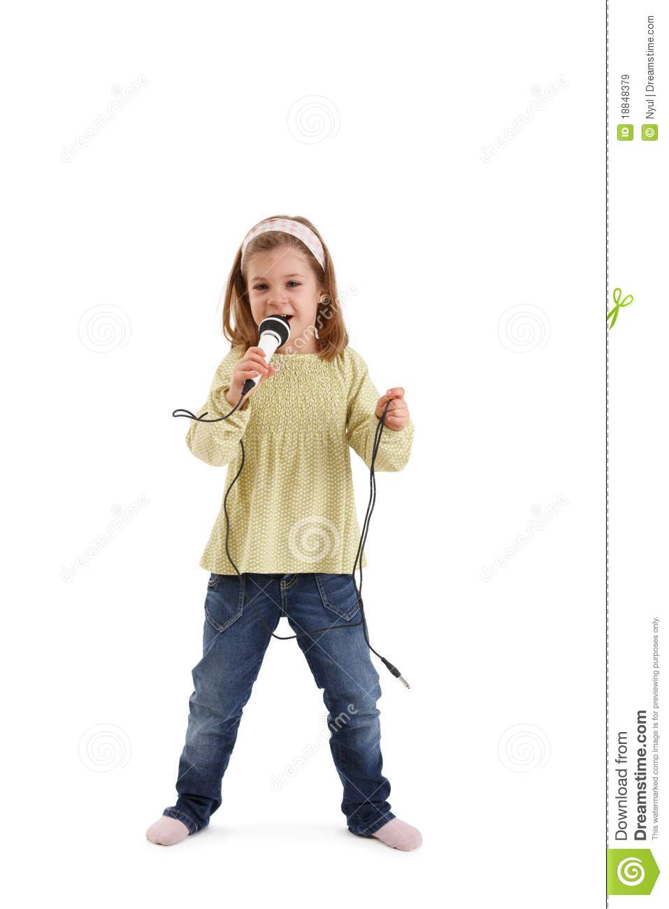 Little girl singing with microphone royalty free stock images image