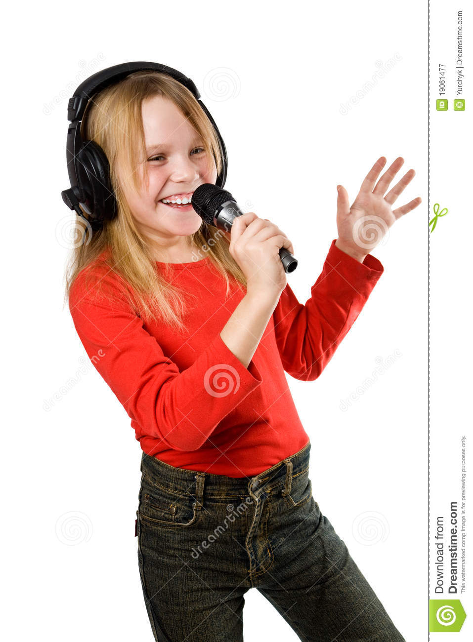 Little Girl Singing In Microphone Royalty Free Stock ...