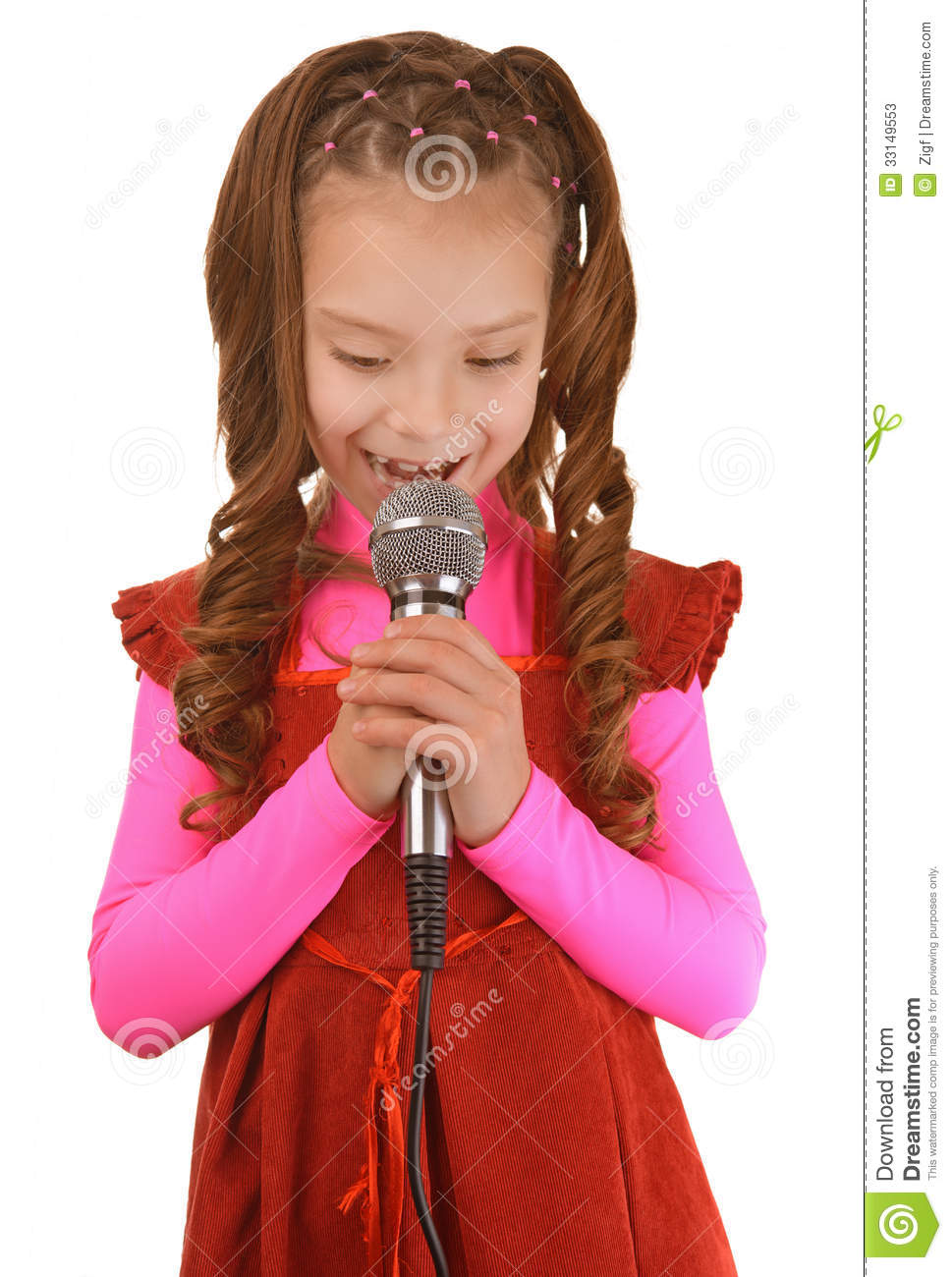 Little Girl Singing Into Microphone Stock Photos - Image ...