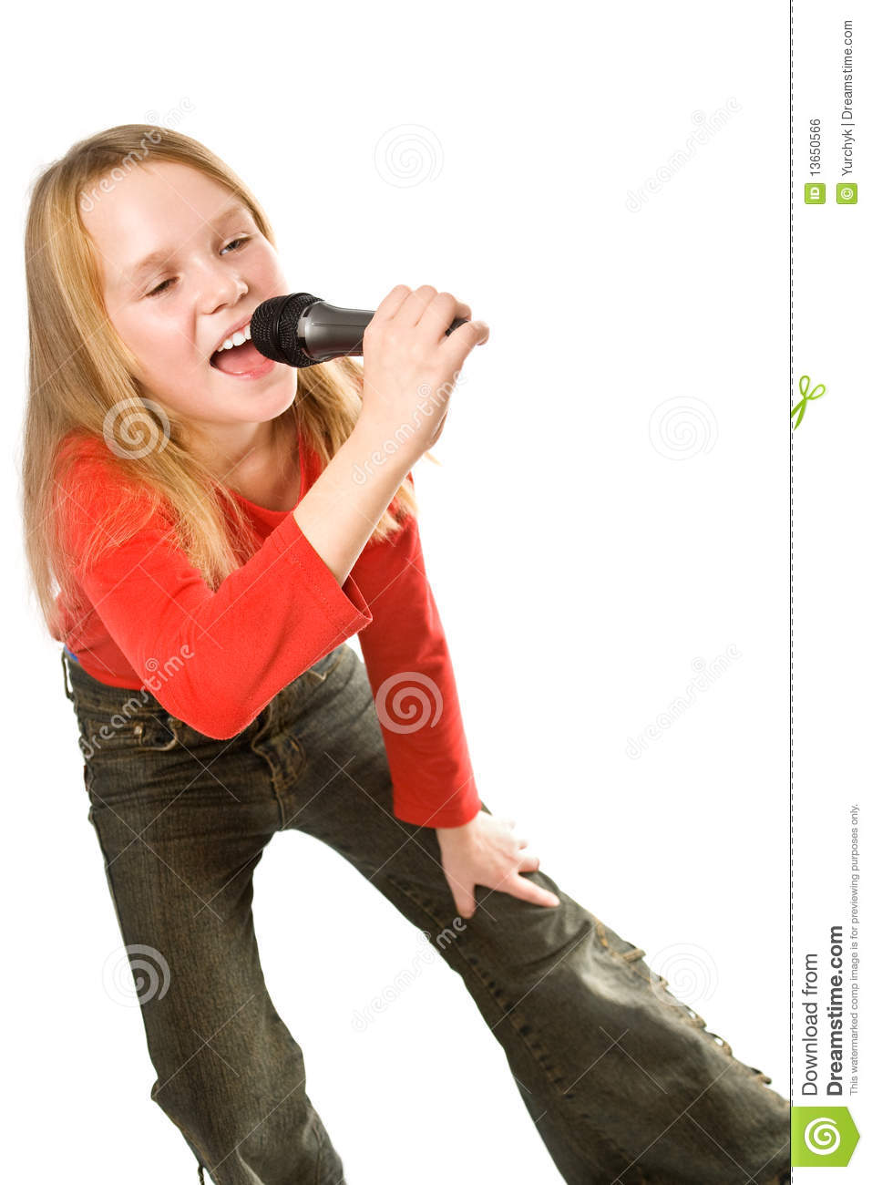 Little Girl Singing In Microphone Isolated Stock Photo ...