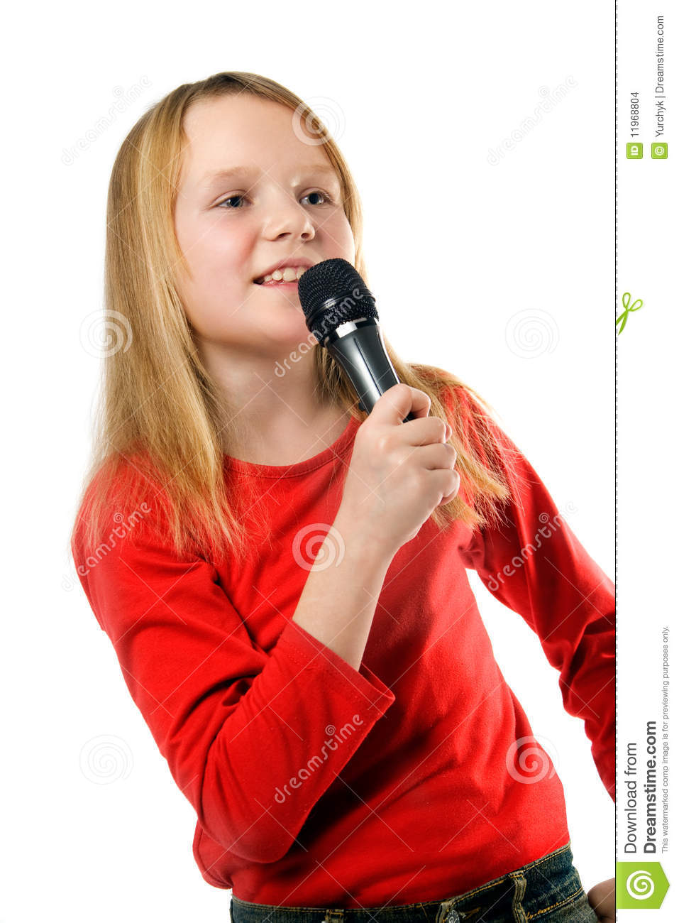 Little Girl Singing In Microphone Over White Stock Photo ...