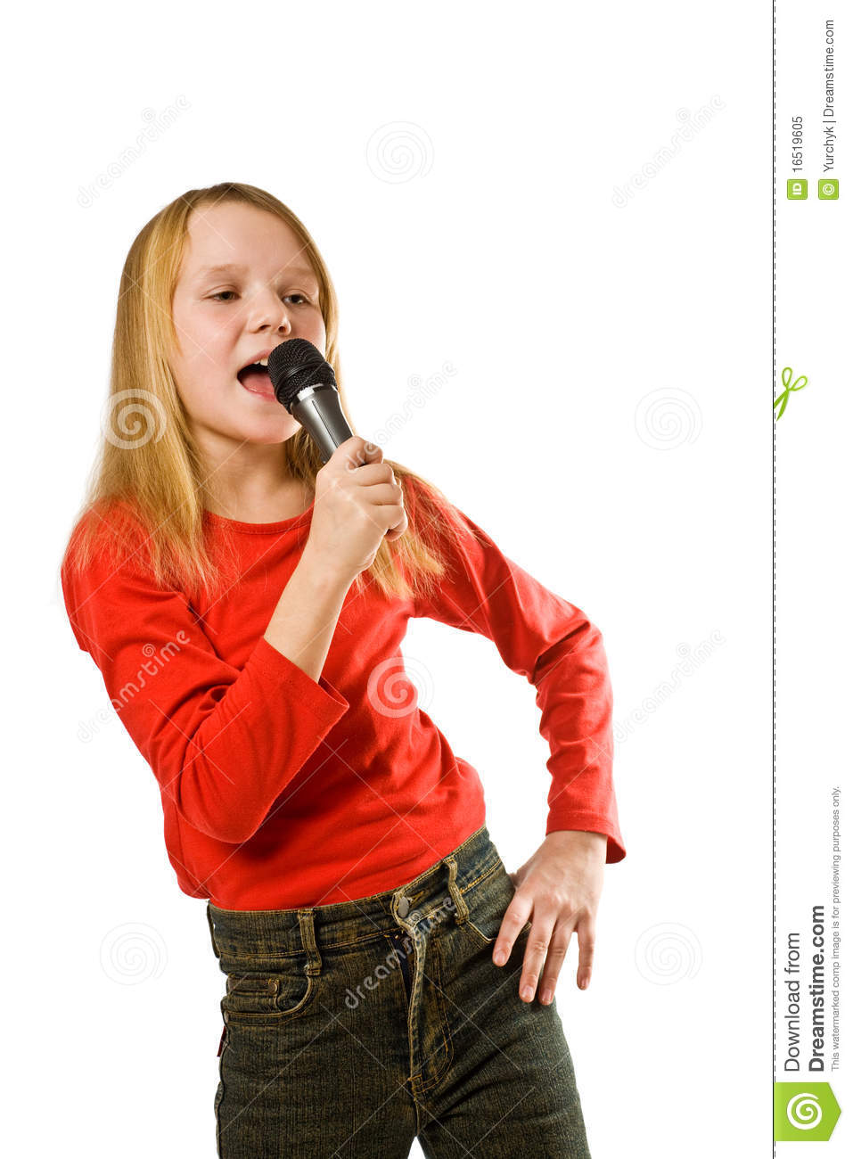 Little Girl Singing In Microphone Over White Stock Image ...
