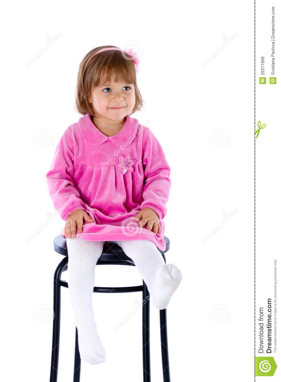 the little girl sits on a high chair stock photo image 26311896. Black Bedroom Furniture Sets. Home Design Ideas