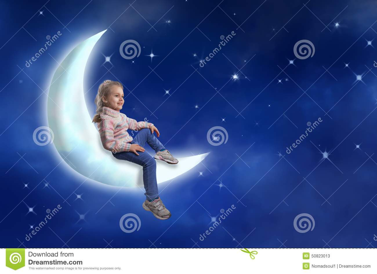 Girl In Her Bed And Moon Planet Stock Photo