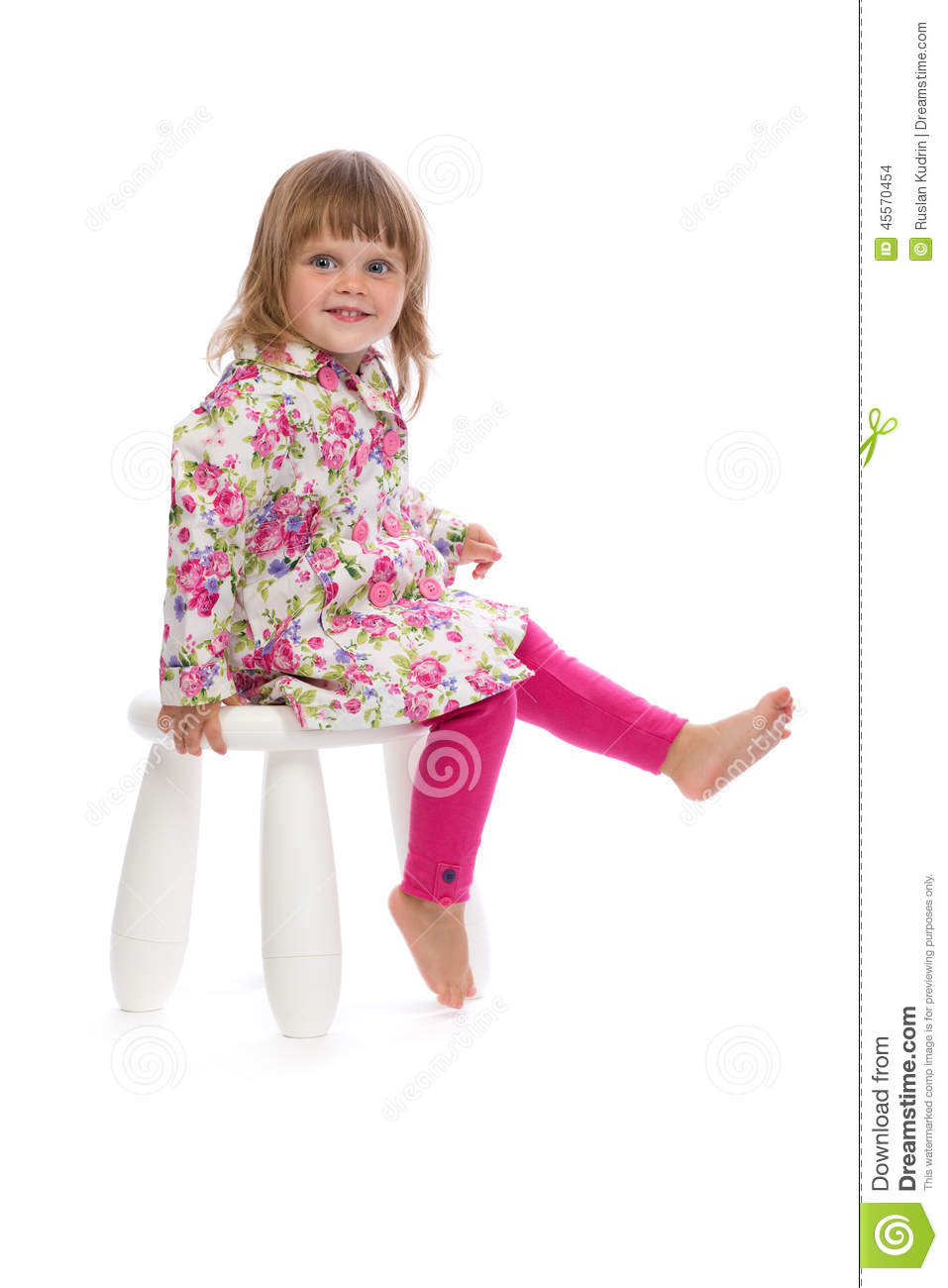 little girl sitting on a chair in the studio stock photo image 45570454. Black Bedroom Furniture Sets. Home Design Ideas