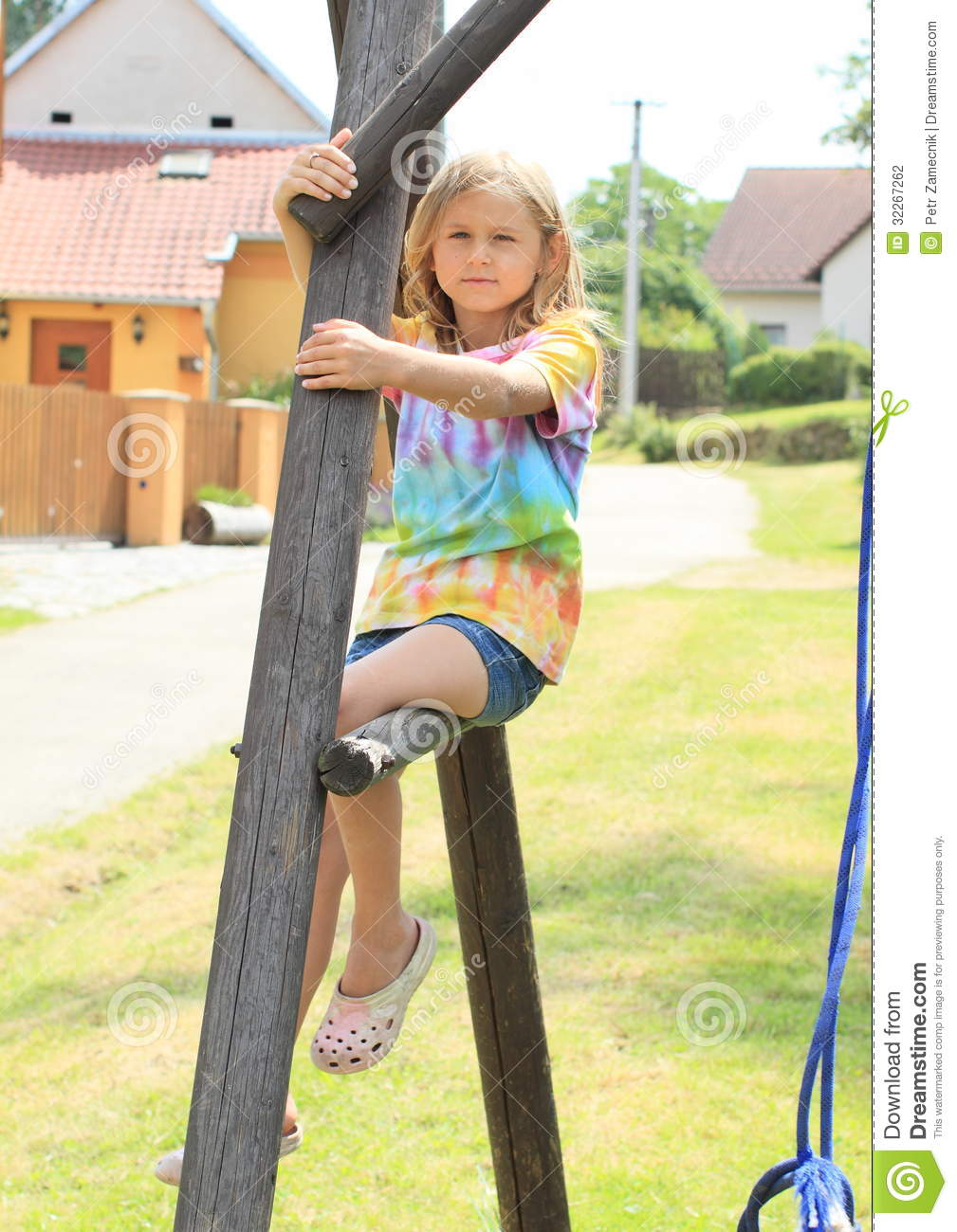 Little Girl Sitting On A Construction Stock Photography - Image ...