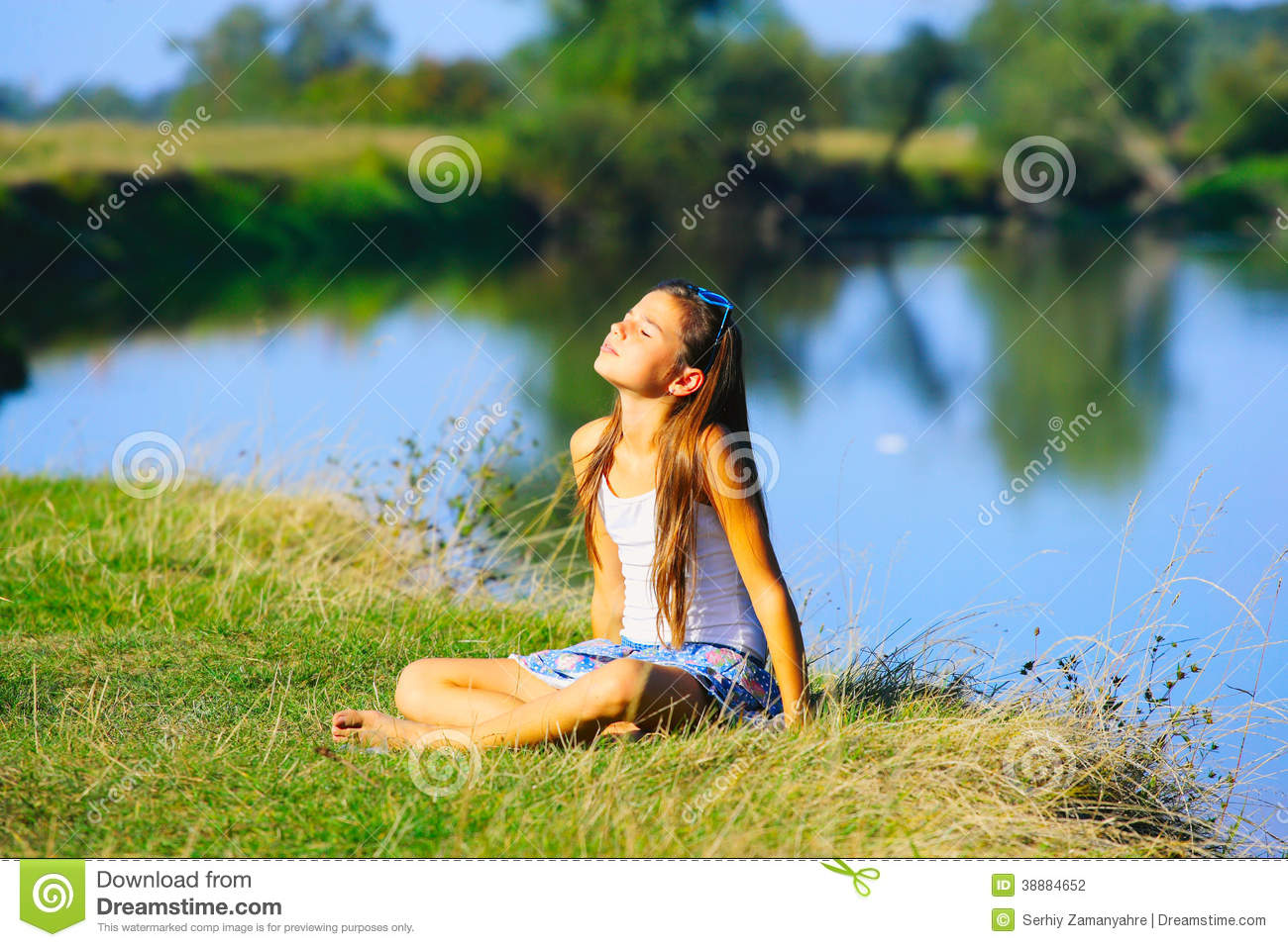 b1c2a4f5b Little Girl Sitting By The River Coastline Stock Photo - Image of ...
