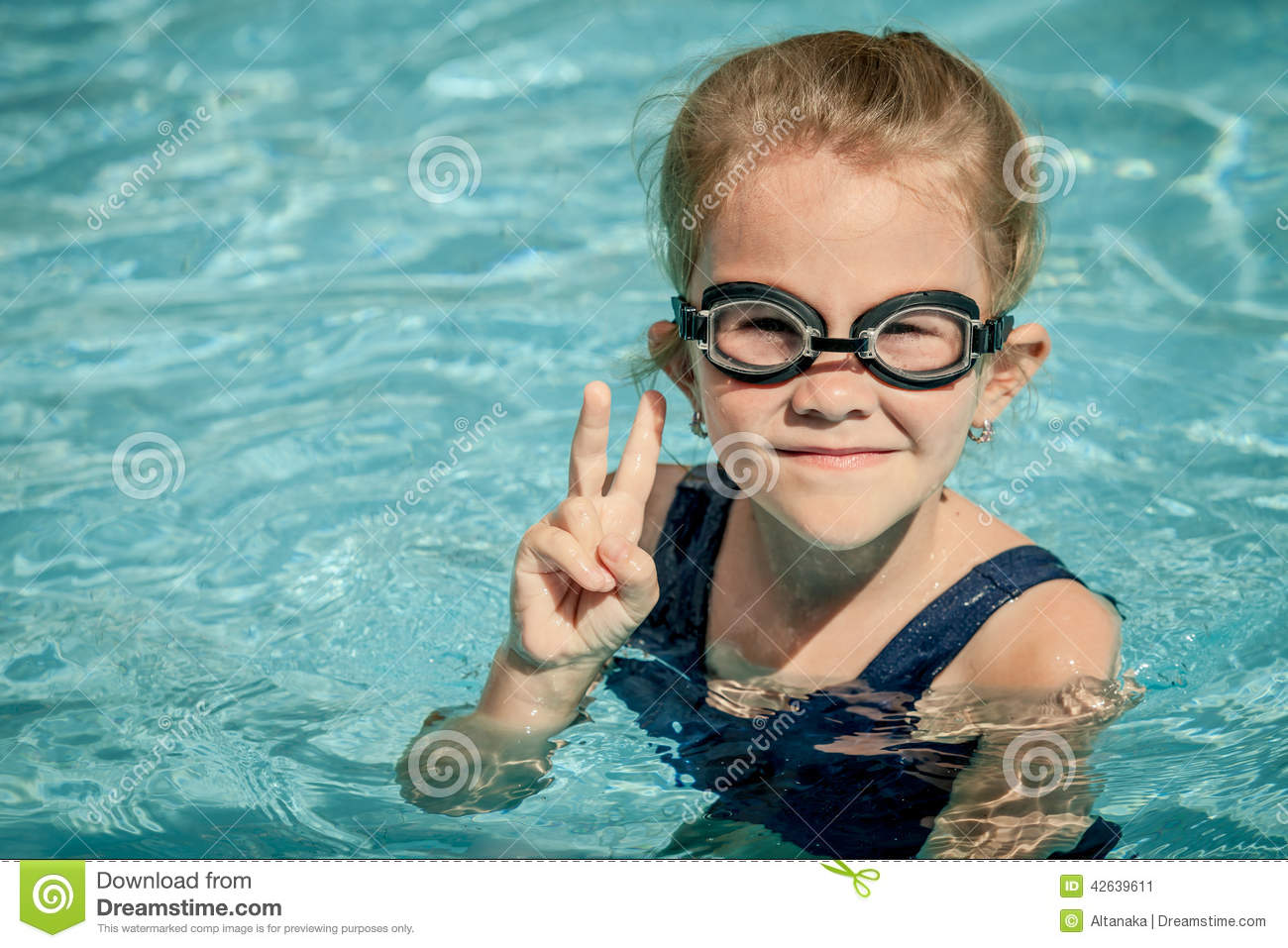 Little Girl Sitting In The Swimming Pool Stock Photo Image 42639611