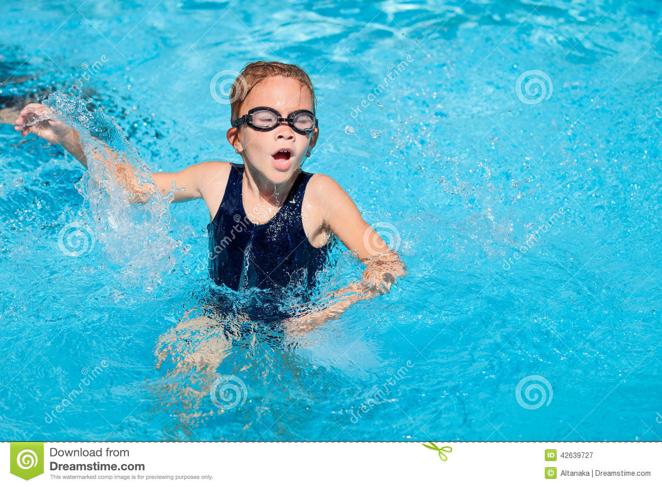 Little Girl Sitting In The Swimming Pool Stock Photo Image 42639727