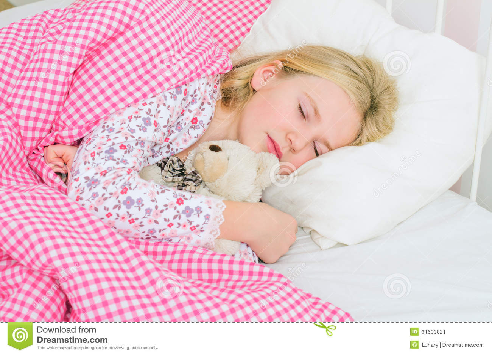 Little Girl Sleeping In Bed Stock Image Image 31603821