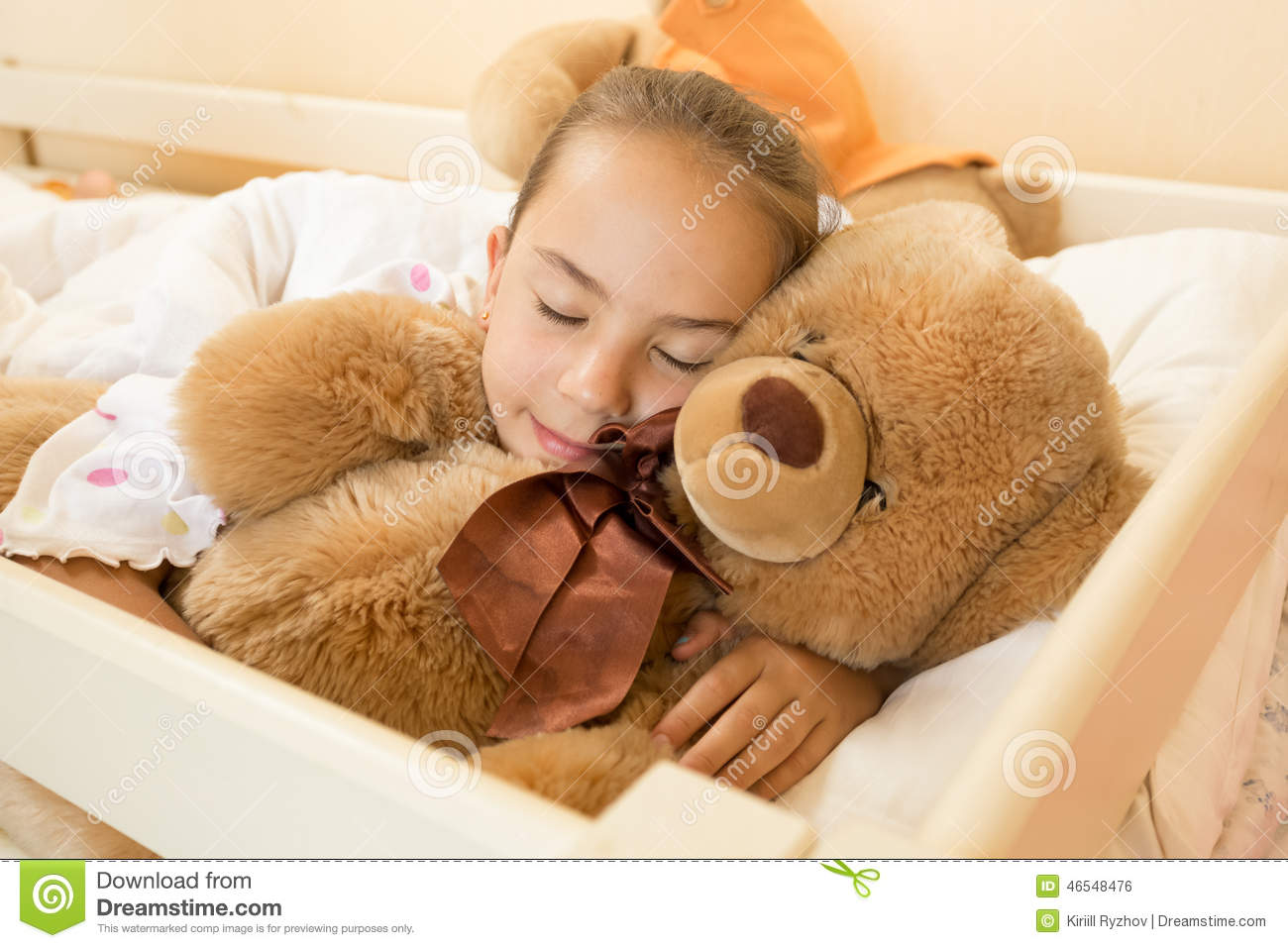 Little Girl Sleeping On Big Teddy Bear At Bed Stock Photo ...