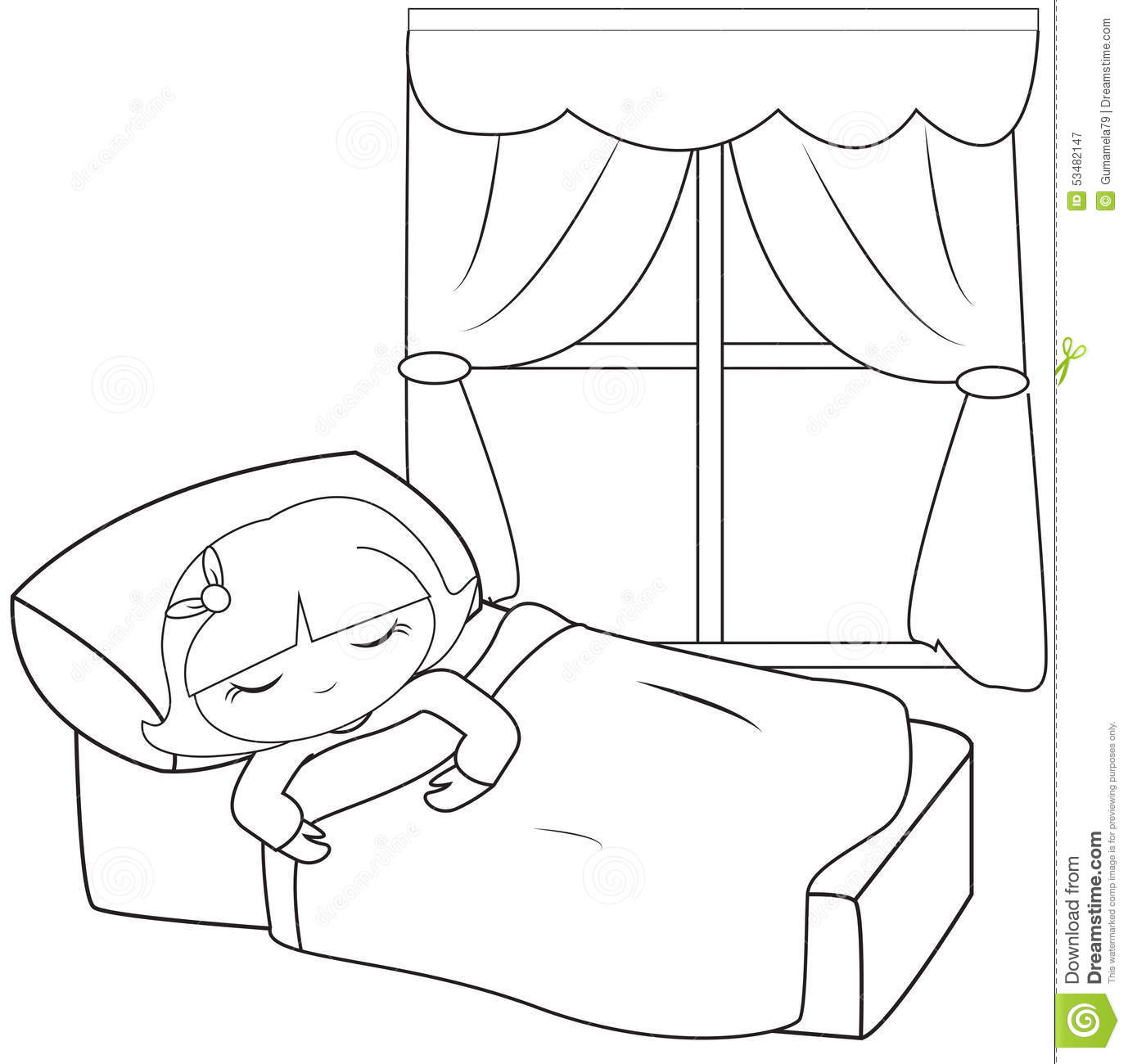 Little Girl Sleeping Coloring Page Stock Illustration Image