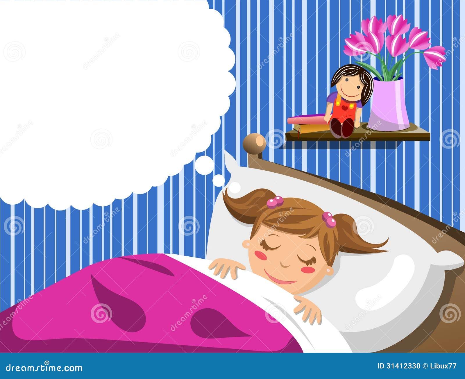 Little Girl Sleeping And Having Dreams Stock Vector