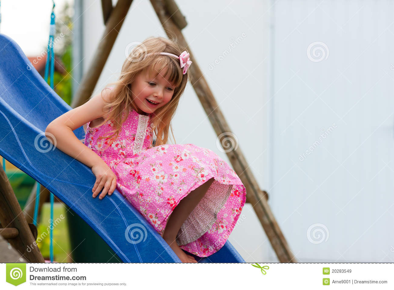 Little Girl On Slide In Summer Royalty Free Stock Images - Image ...