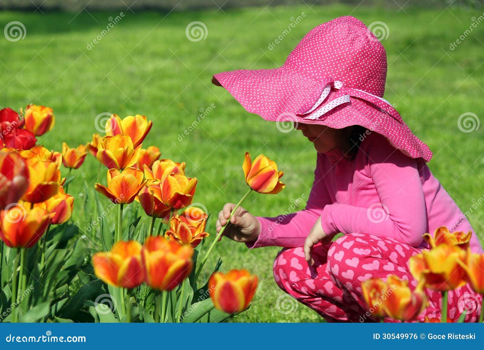 Little Girl Smell Tulip Flower Stock Photo Image Of Flower Sweet