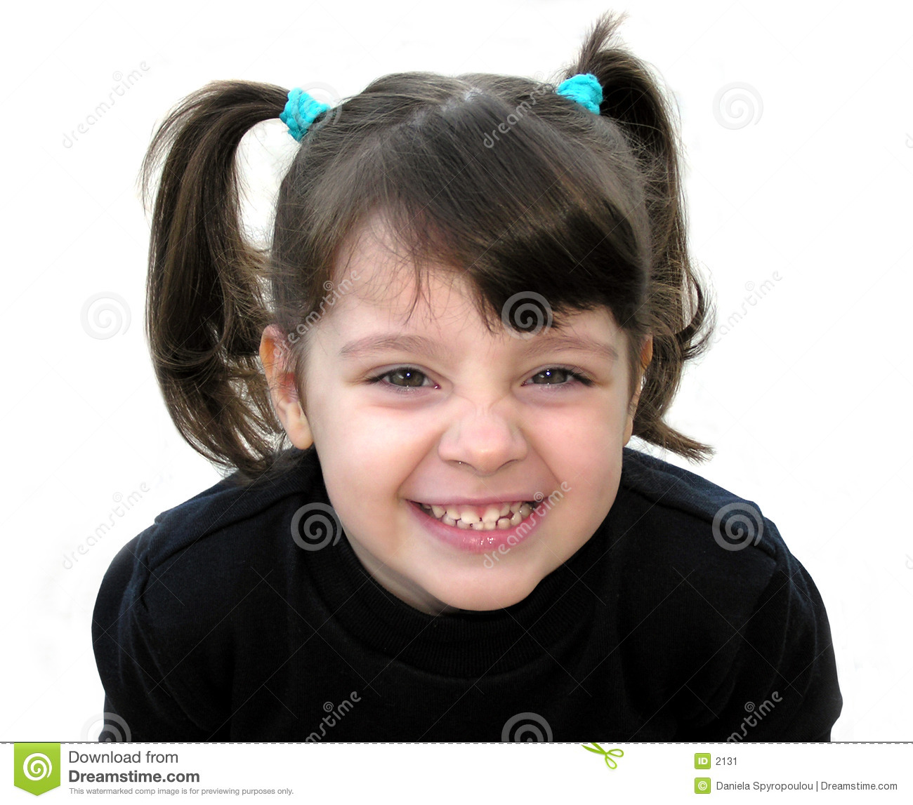 A little girl smiling