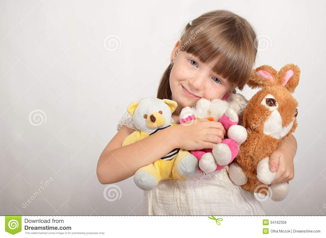 Little Girl Toys : Little girl with soft toys stock photo image of childhood