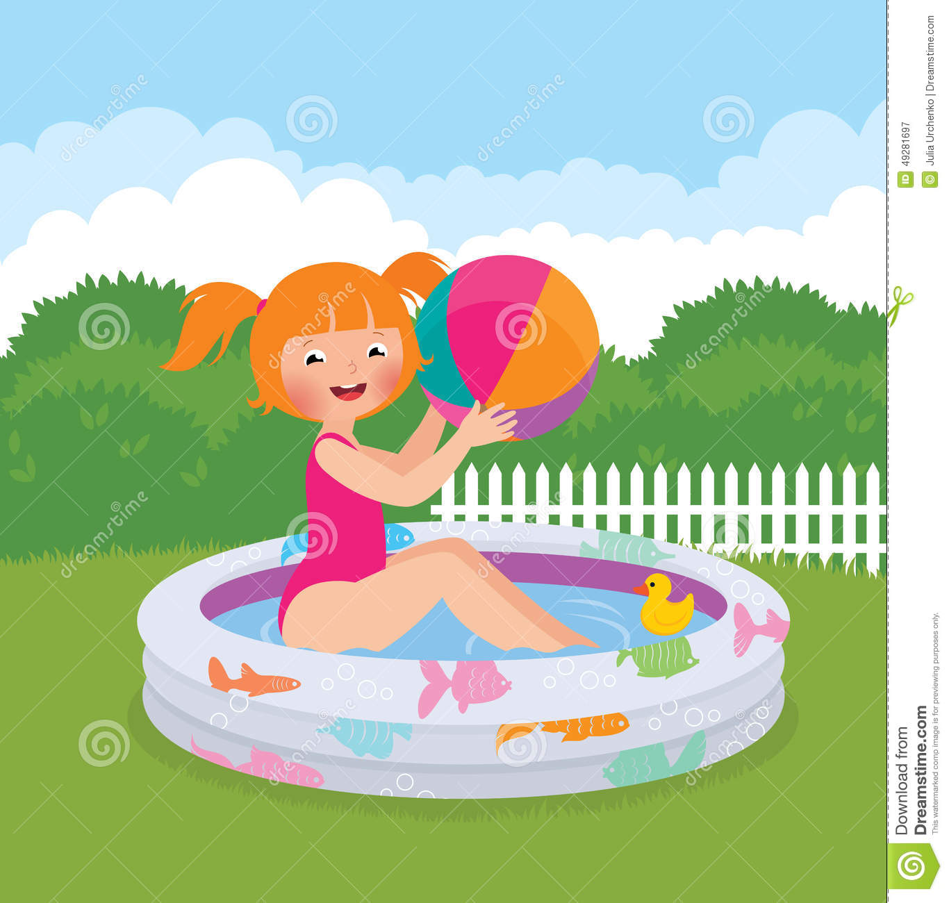 little splashing in an inflatable pool in his backyard stock