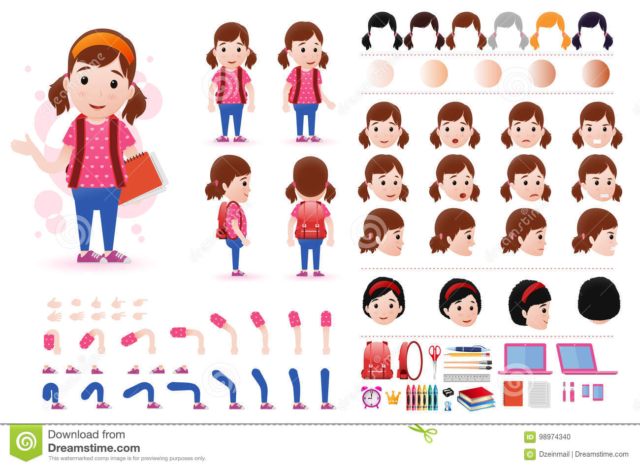 little girl student character creation kit template with different facial expressions