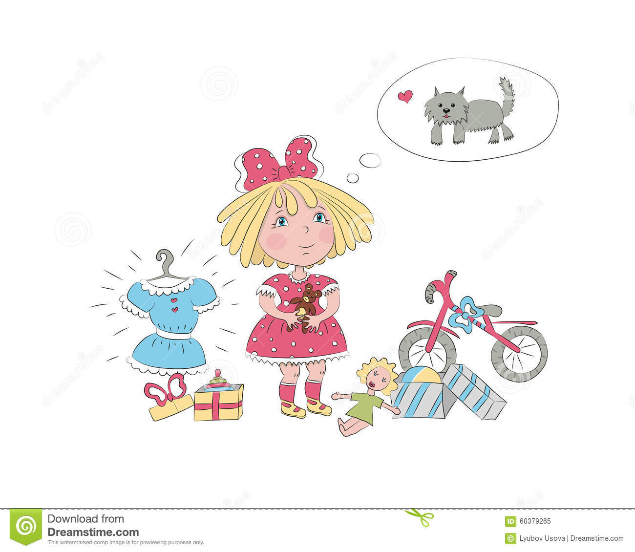 Little Girl Toys : A little girl surrounded by toys dream about the dog stock