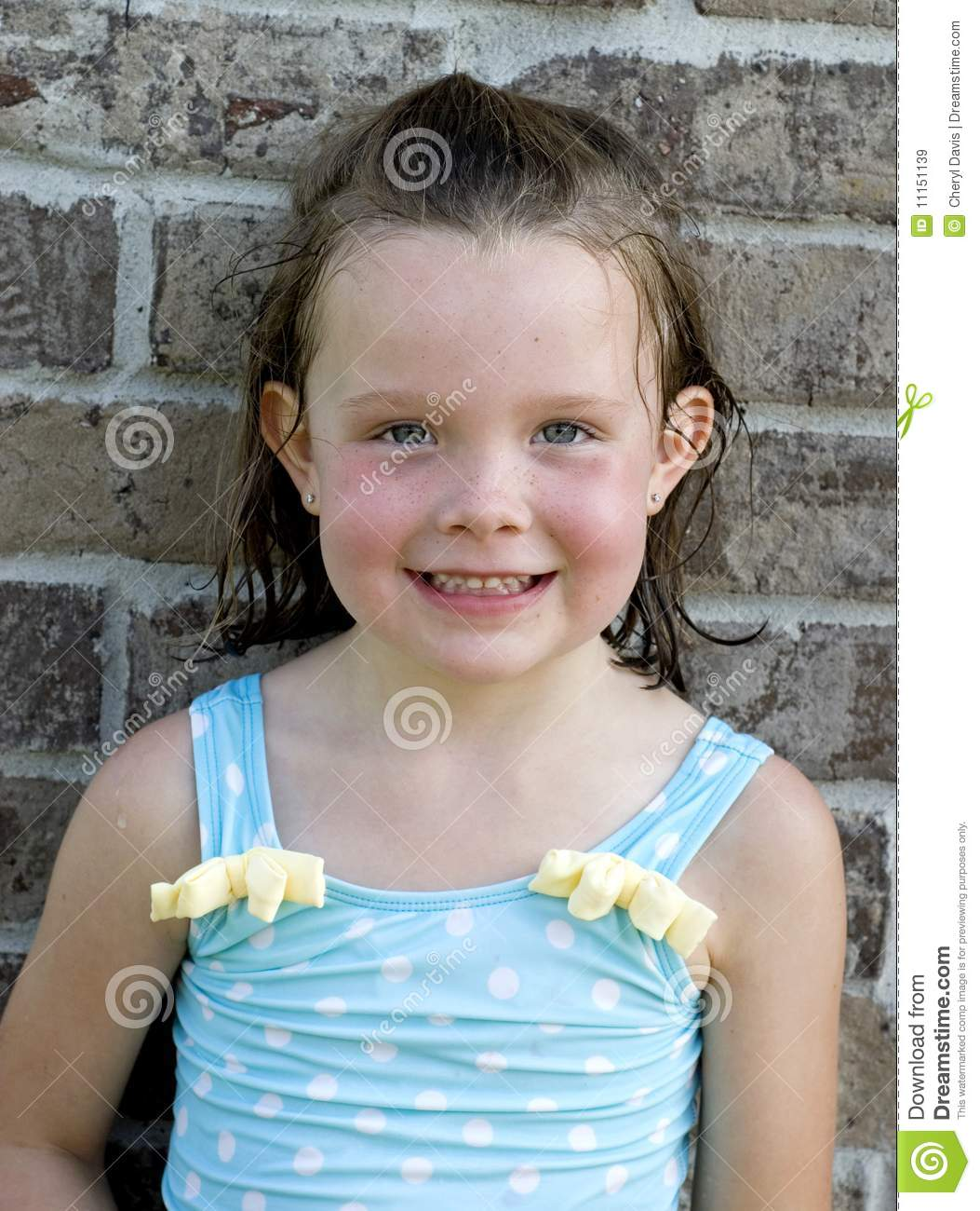 Young Happy Boy With Brown Wet Hair Is Smiling And: Little Girl After Swimming Royalty Free Stock Images