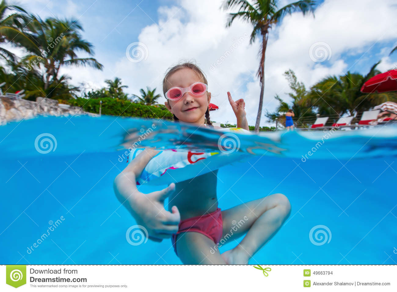 Little Girl In Swimming Pool Stock Photo Image 49663794